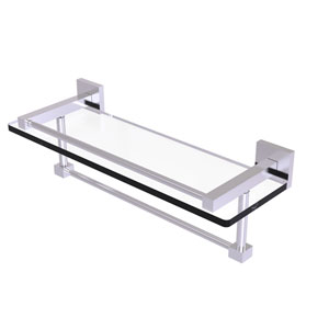 Montero Satin Brass 16-Inch Glass Shelf with Towel Bar