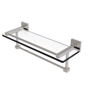 Montero Satin Nickel 16-Inch Glass Shelf with Towel Bar