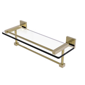 Montero Unlacquered Brass 16-Inch Glass Shelf with Towel Bar