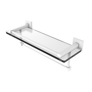 Montero Matte White 16-Inch Glass Shelf with Towel Bar