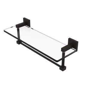 Montero Oil Rubbed Bronze 16-Inch Glass Vanity Shelf with Integrated Towel Bar