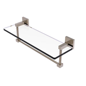 Montero Antique Pewter 16-Inch Glass Vanity Shelf with Integrated Towel Bar