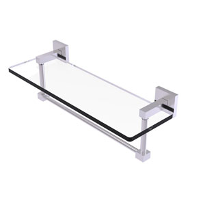 Montero Satin Chrome 16-Inch Glass Vanity Shelf with Integrated Towel Bar