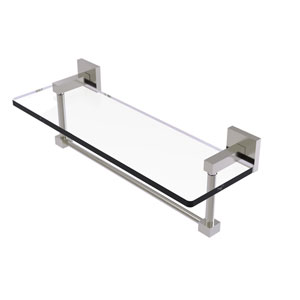 Montero Satin Nickel 16-Inch Glass Vanity Shelf with Integrated Towel Bar