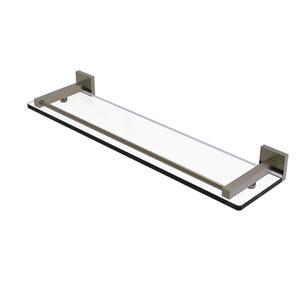 Montero Antique Brass 22-Inch Glass Shelf with Gallery Rail