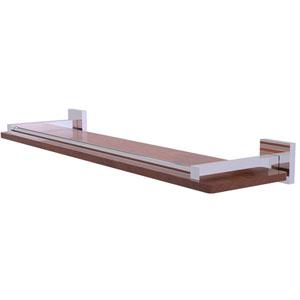 Montero Polished Chrome 22-Inch Solid IPE Ironwood Shelf with Gallery Rail