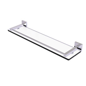 Montero Polished Chrome 22-Inch Glass Shelf with Gallery Rail