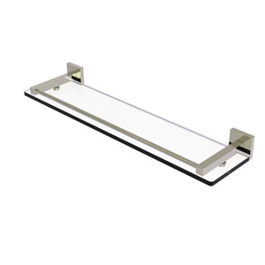 Montero Polished Nickel 22-Inch Glass Shelf with Gallery Rail