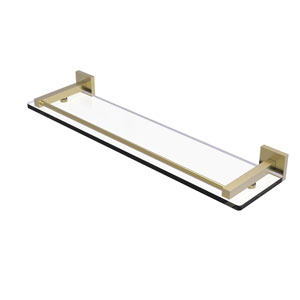 Montero Satin Brass 22-Inch Glass Shelf with Gallery Rail