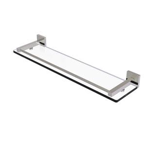Montero Satin Nickel 22-Inch Glass Shelf with Gallery Rail