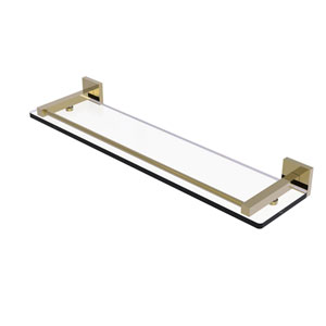 Montero Unlacquered Brass 22-Inch Glass Shelf with Gallery Rail