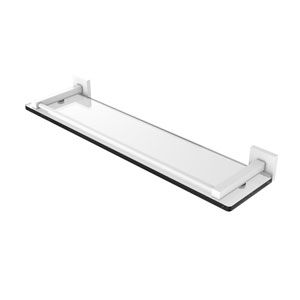 Montero Matte White 22-Inch Glass Shelf with Gallery Rail