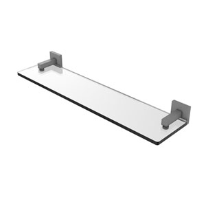 Montero Matte Gray 22-Inch Glass Vanity Shelf with Beveled Edges