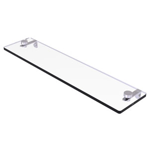 Montero Satin Chrome 22-Inch Glass Vanity Shelf with Beveled Edges