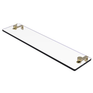 Montero Unlacquered Brass 22-Inch Glass Vanity Shelf with Beveled Edges