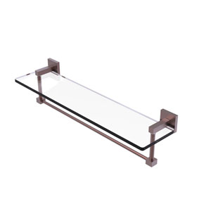 Montero Antique Copper 22-Inch Glass Vanity Shelf with Integrated Towel Bar