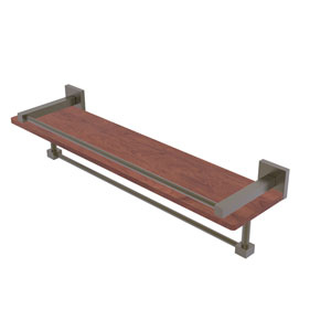 Montero Antique Brass 22-Inch IPE Ironwood Shelf with Gallery Rail and Towel Bar