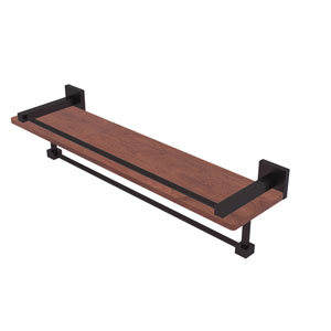 Montero Antique Bronze 22-Inch IPE Ironwood Shelf with Gallery Rail and Towel Bar