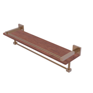 Montero Brushed Bronze 22-Inch IPE Ironwood Shelf with Gallery Rail and Towel Bar