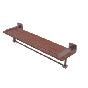 Montero Antique Copper 22-Inch IPE Ironwood Shelf with Gallery Rail and Towel Bar