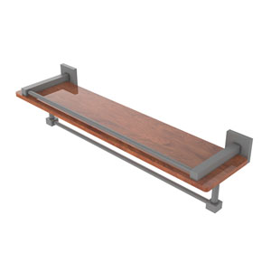 Montero Matte Gray 22-Inch IPE Ironwood Shelf with Gallery Rail and Towel Bar