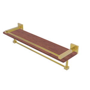 Montero Polished Brass 22-Inch IPE Ironwood Shelf with Gallery Rail and Towel Bar