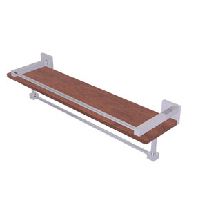 Montero Polished Chrome 22-Inch IPE Ironwood Shelf with Gallery Rail and Towel Bar