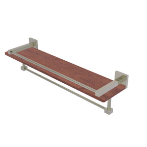 Montero Polished Nickel 22-Inch IPE Ironwood Shelf with Gallery Rail and Towel Bar