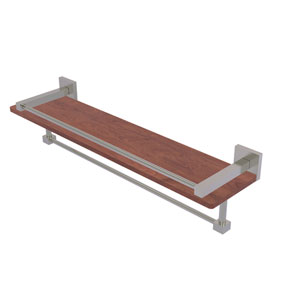Montero Satin Nickel 22-Inch IPE Ironwood Shelf with Gallery Rail and Towel Bar