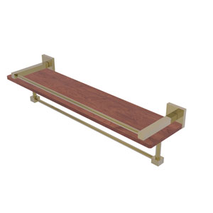 Montero Unlacquered Brass 22-Inch IPE Ironwood Shelf with Gallery Rail and Towel Bar