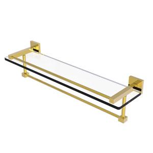 Montero Polished Brass 22-Inch Glass Shelf with Towel Bar