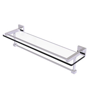 Montero Polished Chrome 22-Inch Glass Shelf with Towel Bar