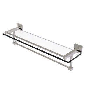 Montero Satin Nickel 22-Inch Glass Shelf with Towel Bar