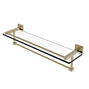 Montero Unlacquered Brass 22-Inch Glass Shelf with Towel Bar