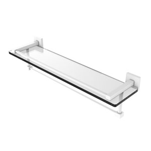 Montero Matte White 22-Inch Glass Shelf with Towel Bar