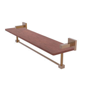 Montero Brushed Bronze 22-Inch Solid IPE Ironwood Shelf with Integrated Towel Bar