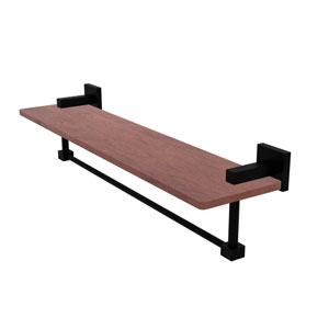 Montero Matte Black 22-Inch Solid IPE Ironwood Shelf with Integrated Towel Bar