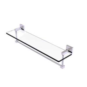 Montero Polished Chrome 22-Inch Glass Vanity Shelf with Integrated Towel Bar