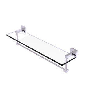 Montero Satin Chrome 22-Inch Glass Vanity Shelf with Integrated Towel Bar
