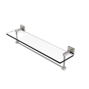 Montero Satin Nickel 22-Inch Glass Vanity Shelf with Integrated Towel Bar