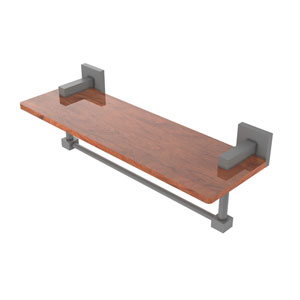Montero Matte Gray 16-Inch Solid IPE Ironwood Shelf with Integrated Towel Bar