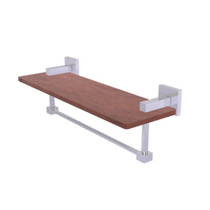 Montero Polished Chrome 16-Inch Solid IPE Ironwood Shelf with Integrated Towel Bar