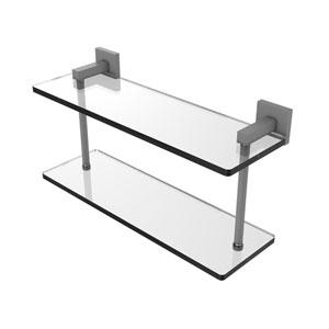Montero Matte Gray 16-Inch Two Tiered Glass Shelf
