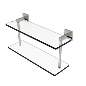 Montero Satin Nickel 16-Inch Two Tiered Glass Shelf