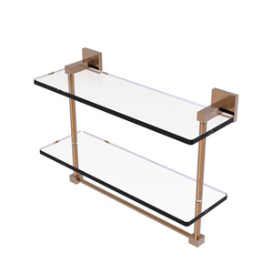 Montero Brushed Bronze 16-Inch Two Tiered Glass Shelf with Integrated Towel Bar