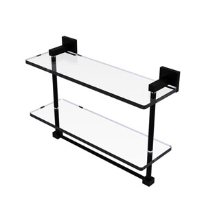 Montero Matte Black 16-Inch Two Tiered Glass Shelf with Integrated Towel Bar