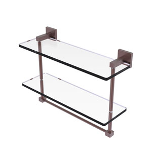 Montero Antique Copper 16-Inch Two Tiered Glass Shelf with Integrated Towel Bar