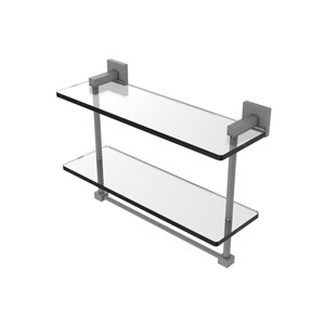 Montero Matte Gray 16-Inch Two Tiered Glass Shelf with Integrated Towel Bar