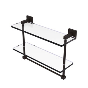 Montero Oil Rubbed Bronze 16-Inch Two Tiered Glass Shelf with Integrated Towel Bar