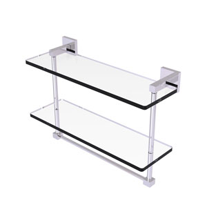 Montero Polished Chrome 16-Inch Two Tiered Glass Shelf with Integrated Towel Bar